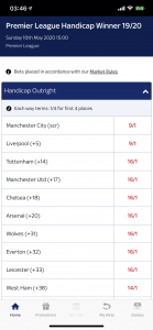 Premier league outright handicap betting world series game 3 betting odds